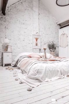 white, bedroom, rose gold, decor, copper