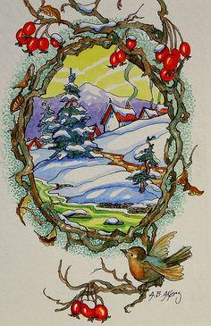 A bird's eye view... Vintage Christmas art / card <> (birds, feathered friends, winter, holidays)