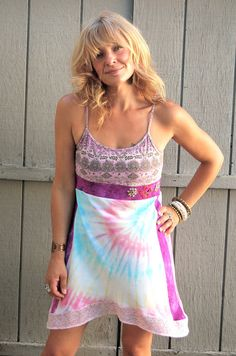 Eco tank DRESS Upcycled Clothing recycled pink and purple by zasra, $70.00