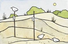 Beach Dunes Illustration Print by studiotuesday on Etsy, $14.00