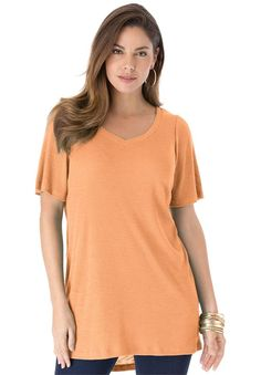 Roamans Women's Plus Size Ribbed High/Low Tunic -- Unbelievable  item right here! : Plus size shirts