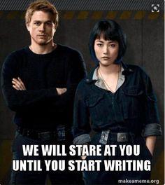 Pacific Rim; Raleigh Becket; Mako Mori; Charlie Hunnam; Rinko Kikuchi You should be writing