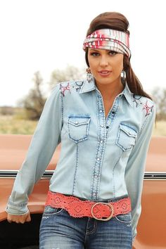 $24.99! CRUEL GIRL Western Soft Denim Chambray Aztec Embroidery SHIRT COWGIRL NWT MEDIUM #CruelGirl #Western