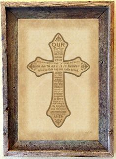 custom barnwood frames our father cross framed print 2399 http
