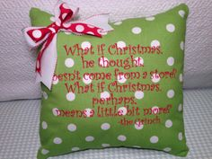 Christmas+Pillow+Cover+Green+Polka+Dot+What+is+by+MamaBern+on+Etsy,+$28.00