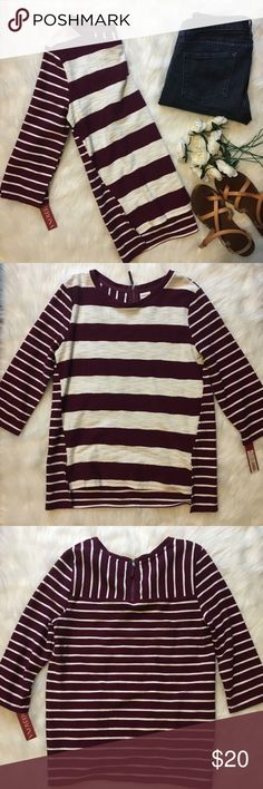 3/4 Sleeve Striped Burgundy Top Super cute and casual lightweight knit top that is perfect for seasonal transitions or chilly summer nights!  The stripe to a few different ways and and the back goes down a little lower.  Measurements are available upon request. Merona Tops