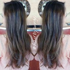 Sombre subtle highlights balayage asian hair
