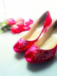 Wedding Shoes Crystals red lipstick snowflakes by norakaren, $240.00
