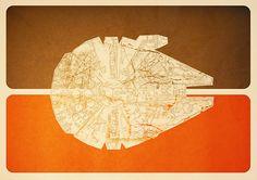 Millennium Falcon. Star Wars inspired wall art by artist Paul Harckham