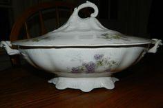 Lafayette Porcelain~Purple Flowers w/ Gold Accents~Casserole Dish~Vintage Soup Tureen~Antique Veggie Dish~Covered Dish w/ Lid~Ceramic Tureen