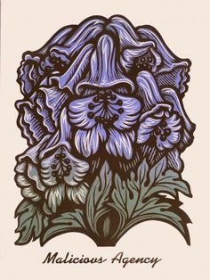"""""""Language of Flowers"""" Poisonous Plants No. 4 Relief print by Martin Mazorra  Monkshood, a member of the buttercup family, is also known as Wolfsbane, as it was used traditionally in Europe to ward off animals. Handle it with care as the poison can be absorbed through the skin. Poisoning will cause dizziness, difficulty breathing, and asphyxiation due to blood circuit failure. Put its purple flowers under your pillow to keep away werewolves."""