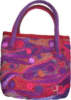 SALE red and purple swirls felted handbag was 75 by suegoodebeads