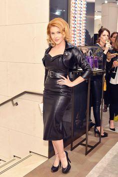 Renee Olstead attends Fendi And Vogue Celebrate Fendi #leathercroppedjacket #leatherjacket
