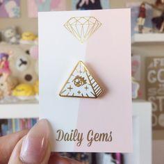 Frilluminati Kawaii All-Seeing Eye pin. Original illustration and design.  - Gold finish with hard white enamel - Approximately 2.5cm wide