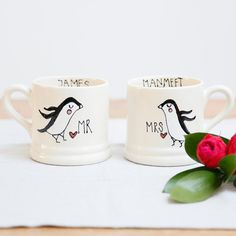 Cute Personalised Mr and Mrs Mugs - Personalised Mr and Mr Mugs - Personalised Mrs and Mrs mugs - Penguin mug - Cute penguin gift ideas