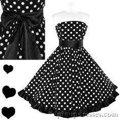 New Retro Polka Dot Black Ruffle Strapless Dress, $95.00