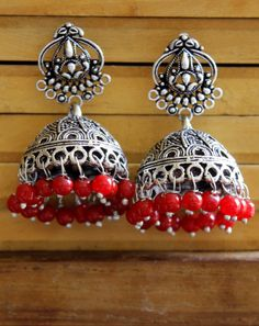 Gold And Silver Earrings Indian Jewelry Earrings, Silver Jewellery Indian, Jewelry Design Earrings, Red Earrings, Silver Jewelry, Silver Ring, Ear Jewelry, Silver Jhumkas, Antique Jewellery Designs