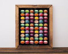 Macarons print, macarons, french macarons,macaron,macarons art,kitchen wall art,home decor,kitchen decor,kitchen art,macaroon print,food art by AdornMyWall on Etsy