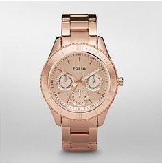 FOSSIL® Dames Horloges Rose-kleurige Horloges:Dames Horloges Stella Plated Horloge Roestvrijstaal- Rosegoudkleur ES2859