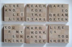 Scrabble Tile Coasters - Inspirational quotes