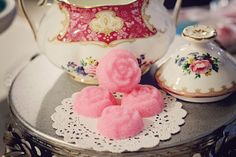 Vintage Tea Party Rose shaped Sugar cubes colored to match your shabby chic event. $4.80, via Etsy.