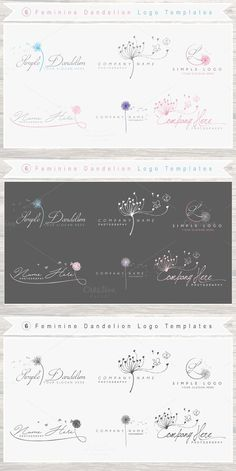 6 Feminine Dandelion Logo Template . Wedding Fonts. $16.00