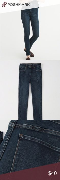 Abercrombie & Fitch Simone High Rise Super Skinny Only worn once! In excellent condition! Just like new!  High rise, super skinny jeans with vertical seam and frayed hem details.   Size is 27 Regular / Dress Size 4 Abercrombie & Fitch Jeans Skinny