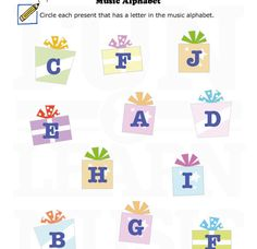 Presents and music alphabet letters!