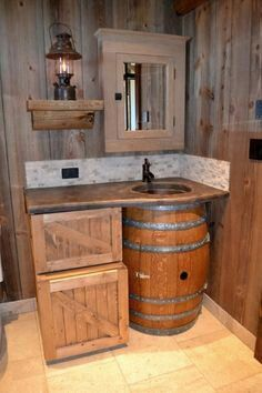 Bathroom with barrell basin.