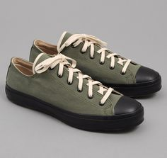 SN1-008 - CHINO TWILL LOW TOP SNEAKERS, ARMY GREEN :: HICKOREE'S $175