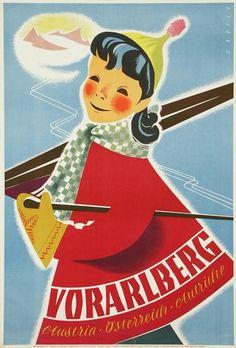 Vorarlberg Travel Vintage Austria Poster 1950s