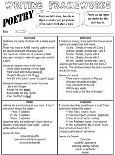 Poetry: different forms of poetry and how to write them.