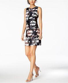 d57858eb948a Vince Camuto Shadow-Stripe Floral Sheath Dress   Reviews - Dresses - Women  - Macy s