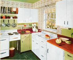 Kitchen Decor Themes, Vintage Kitchen Decor, Retro Home Decor, 1950s Decor, Kitchen Images, Kitchen Photos, Kitchen Designs, Home Interior, Interior Decorating