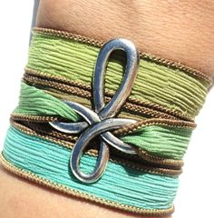 Hand Dyed Silk Wrap Bracelet Cross Bohemian Yoga Jewelry Green Blue Brown Necklace Christmas Unique Gift For HerUnder 50 Item Z89