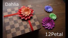 折り紙1枚で12枚の花びらのダリヤ【origami Flower】