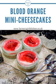 Quick and Easy Blood Orange Mini Cheesecakes a creamy dessert made with thick yogurt honey and beautiful red blood oranges on a buttery biscuit base. Served in a little pot it is the perfect dessert treat Orange Cheesecake Recipes, Orange Recipes, Sweet Recipes, Homemade Cheesecake, Classic Cheesecake, Easy Recipes, Healthy Recipes, Pudding Desserts, Easy Desserts