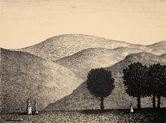 Väinö Rouvinen Italialainen maisema 1982 28x38 cm grafiikka litografia Landscape Drawings, Painters, Finland, Printmaking, Sketches, Illustrations, Artwork, Design, Drawings
