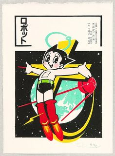 Astro Boy with Sputnick Japanese Pop Art, Japanese Design, Japanese Cartoon, Boy Illustration, Vintage Cartoon, Vintage Comics, Japanese Aesthetic, Manga Covers, Tee Design
