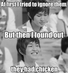 Onew <3 why does he have so a massive obsession over chicken!