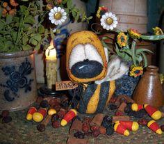 "Primitive Bumble Bee Bug Flower 5"" Doll Patti's Ratties Bear Raggedy Ann Artist"