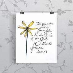 Bible Verse Art  -  Isaiah 40:8 - Scripture Print - Hand-Lettered Typography on Etsy, $8.00