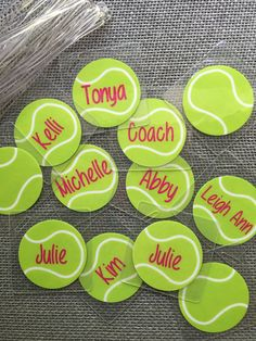 Tennis bag tags by Toddletags available at Toddletags.com and Toddletags on Etsy Fun party favors or team gifts!