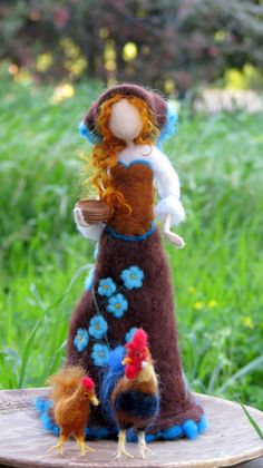 Art doll with chicken Needle felted doll Spring decoration Waldorf inspired farm Easy Yarn Crafts, Needle Felting Tutorials, Felt Fairy, Chicken Art, Fairy Dolls, Felt Dolls, Doll Crafts, Craft Sale, Felt Christmas