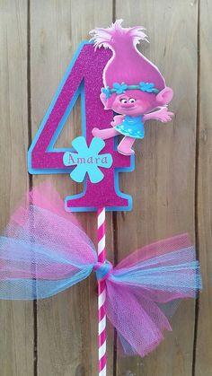 Poppy trolls cake topper 5.5 inches poppy by SilviasPartyDecor