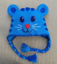Tigey hat Daniel Tiger's body. Listing 13086 Crochet For Boys, Crochet Baby Hats, Crochet Hooks, Crochet Beanie, Knitted Hats, Crochet Character Hats, Crochet Crafts, Daniel Tiger, Layette