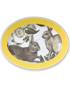 Yellow Banded Easter Platter