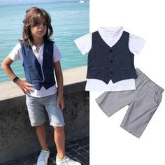 Perfect for your little boy. Easy to wear and can be used casually. Cotton and polyester blend materials make the fabric comfortable and smooth for kids' sensitive skin. My Collection, Simple Outfits, Bad Boys, Sensitive Skin, Little Boys, Boy Outfits, Gentleman, Overalls, This Or That Questions