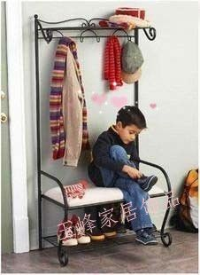 Continental Iron Iron multifunction his shoes stool changing his shoes rack hanger floor coat rack hall chair Huanxie