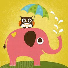 Tangletown Fine Art 'Elephant and Owl with Umbrella' by Nancy Lee Graphic Art on Wrapped Canvas Owl Canvas, Elephant Canvas, Pink Elephant, Canvas Art, Elephant Nursery, Canvas Size, Framed Art Prints, Poster Prints, Wall Posters
